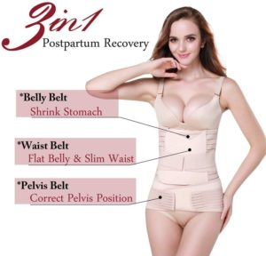 TiRain 3 in 1 post pregnancy support wrap - best postpartum recovery belt for tummy, waist and pelvis, top rated postpartum belly wrap