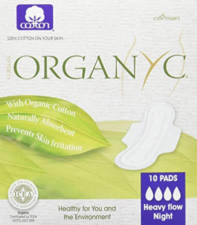 Organyc 100% Certified Organic Cotton Feminine Pads, best organic pads for postpartum recovery