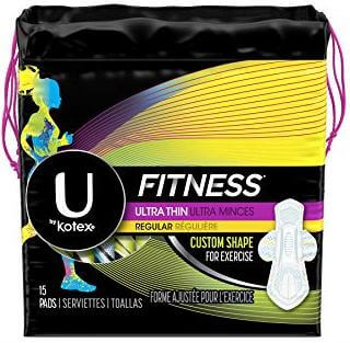 U by Kotex fitness ultra thin pads with wings for regular absorbency, best sanitary pads for odor, best fragrance free pads