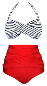 Women's Vintage Polka Dot High Waist Bathing Suit, Bikini Set marketed by Angerella, best swimsuits to hide belly pooch, best tummy control bathing suits