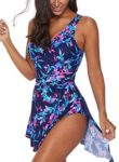 BLENCOT Women's V Neck Printed One Piece Swimwear, one of the best bathing suits for large bust