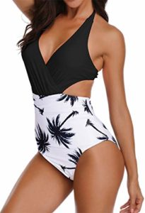 Women's 1 Piece Swimsuit Deep V-Neck Halter High Waist Monokini Beachwear marketed by Chaos World