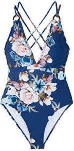 Seaselfie Women's Blue Floral Back Cross Strappy 1 Piece bathing suit, best tummy control swimsuit, best swimsuit for tummy control,
