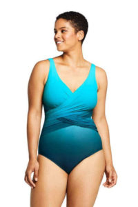 best women's swimsuit with a flattery slender wrap in the midsection made by Land's End, best swimsuits for plus size women