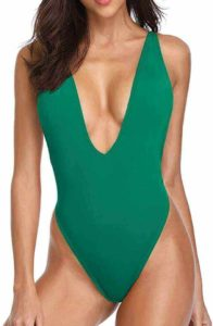 A high-waist swimsuit for ladies with sexy deep V neck from Dixperfect, best bathing suit for large thighs