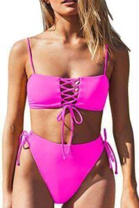 Spaghetti strap bandeau and lace-up high waisted two-piece bikini set for ladies with large hips and thighs, best swimsuits for big thighs