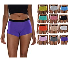 Sexy Basics Female's 6 & 12 Pack Modern Active Boy Shorts, Women Boxer Brief Panties