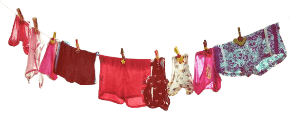 Pairs of innerwear hanging on a cloth line. how many pairs of underwear should a woman own, how many pairs of underwear should i have, learn about when to replace your underwear