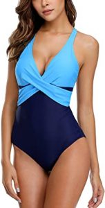 ALove Women's Twist Cross One Piece Swimsuit Cross Back Colorblock Bathing Suit. One of the best swimsuits if you want to look slimmer