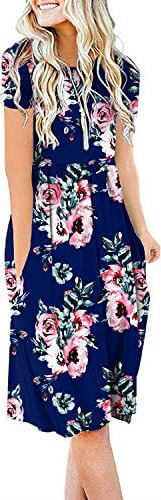DB MOON Women's Summer Casual Short Sleeve Empire Waist Dress with Pockets. One of the best for how to make your stomach look flat in a dress