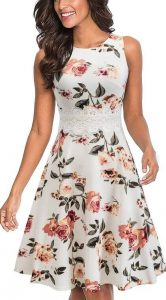 HOMEYEE Women's Sleeveless Cocktail A-Line Embroidery Party Summer Wedding Guest Dress A079. One of Best Colors to Wear to a Wedding.