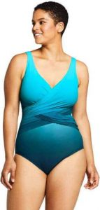Lands' End Women's Plus Size Slender Wrap One Piece Swimsuit with Tummy Control. One of the best plus size swimsuits for someone wondering how many swimsuits should you own?