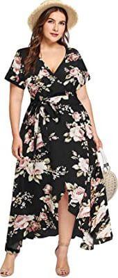 Milumia Plus Size Women's Empire Waist Asymmetrical High Low Bohemian Maxi Dress. best dress for all body types