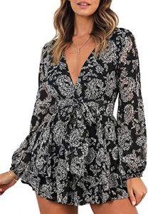 Relipop Women's Jumpsuit Floral Print V Neck Baggy Sleeve Waist Tie Double Layer Ruffle Hem Short Mini Dress Romper one of the best plunge dresses to wear without a bra