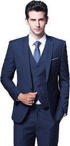 Best Men's Slim Fit 3 Piece Suit One Button for Business, Wedding, Prom Nights, Suits Blazer Tux Vest & Trousers