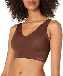 Calvin Klein Women's Invisibles Comfort Seamless Lightly Lined V Neck Bralette. The best bralette for support. One of the best bras for shoulder pain.