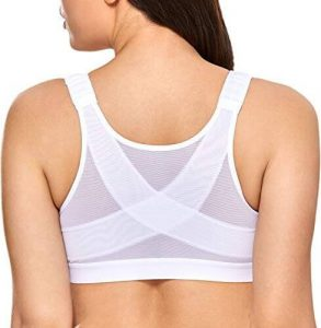 DELIMIRA Women's Full Coverage Front Closure Wire Free Back Support Posture Bra. One of the best posture bras.