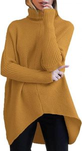 ANRABESS Women's Turtleneck Long Batwing Sleeve Asymmetric Hem Casual Pullover Sweater Knit Tops