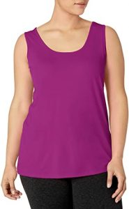 JUST MY SIZE Women's Plus Size Cooldri Performance Scoopneck Tank Top. best top for hiding belly fat when you are wearing a pair of jeans. Here's to how to hide lower belly fat in jeans