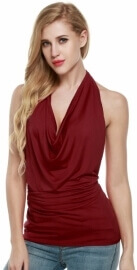 Zeagoo Women's Ruched Cowl Neck Tank Tops Sleeveless Stretch Blouse with Side Shirring. Best top for concealing a pot belly